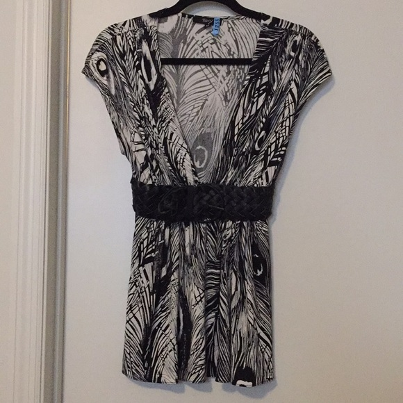 Sky Tops - Sky 100% Silk Blouse with Leather Belt